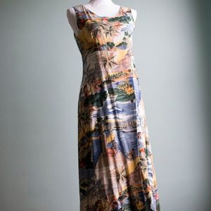 Vintage Hawaiian Midi Dress